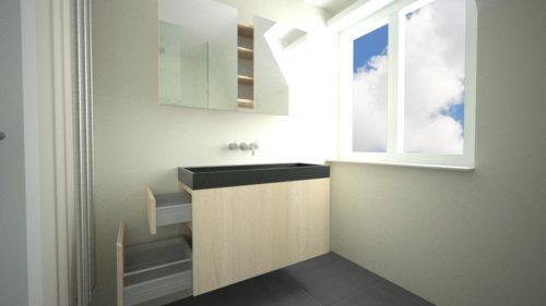 Zwevend, compact, handig badkamermeubel 'Floating' met lades aan de zijkant.