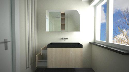 Zwevend, compact, handig badkamermeubel met lades aan de zijkant.
