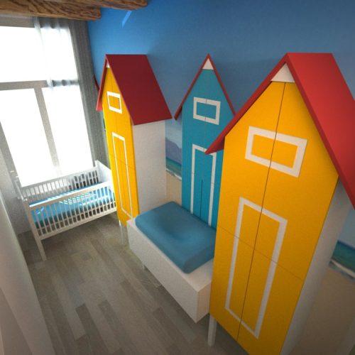 Ontwerptekening voor een kinderkamer met strandthema in een Amsterdams appartement. Ontwerper: Edwin de Kuiper, studio STIJLAPART.