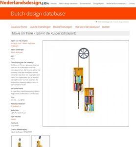 Opname Move on Time in de Dutch design database - 2014