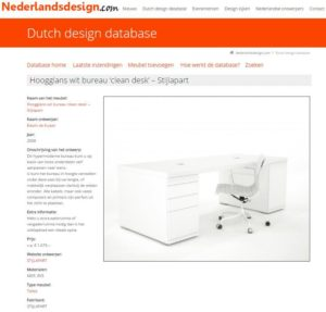 Opname Wit Hoogglans bureau in de Dutch design database - 2014