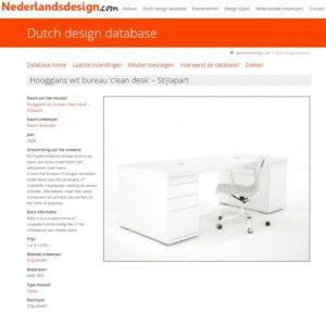 Opname Wit Hoogglans bureau in de Dutch design database - 2014