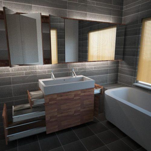 Badkamermeubel 'Floating', hier uitgevoerd in notenhout. Ontwerp van Edwin de Kuiper van studio STIJLAPART.