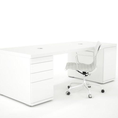 Hoogglans wit bureau in verschillen uitvoeringen. Verschillende modules beschikbaar.