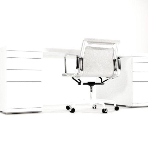 Hoogglans wit bureau in verschillen uitvoeringen. Verschillende modules beschikbaar. Stoel niet inbegrepen. Ontwerper: Edwin de Kuiper.