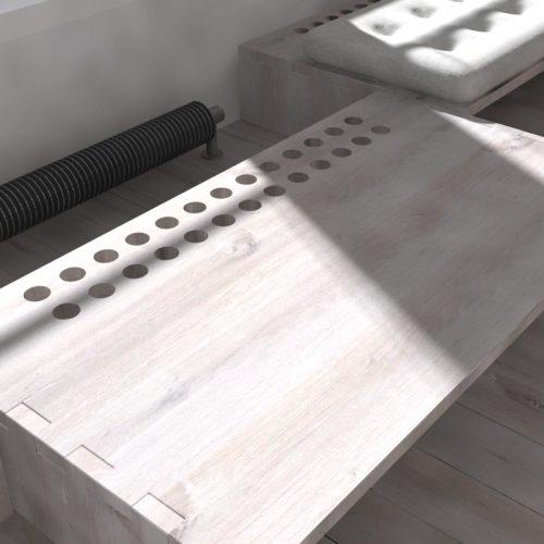 De banken staan los en vormen met elkaar een logeerbed. Hierdoor is beperkte ruimte in een appartement optimaal te benutten.