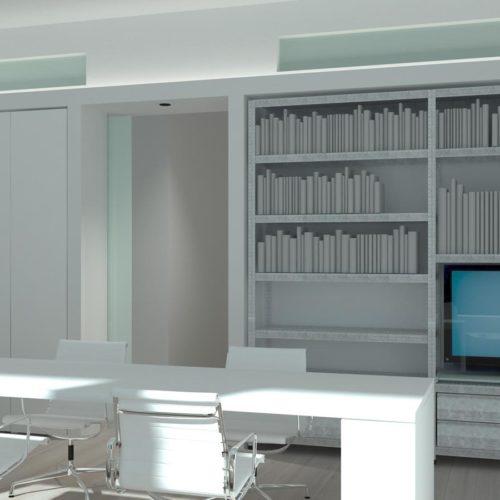 De eenheid in het gebruikte hoogglans materiaal voor zowel bureau als wandkast geeft een bijzonder ruimtelijk effect. Ontwerp van Jiri Evenhuis, inrichting door Edwin de Kuiper van studio STIJLAPART.