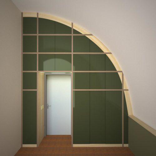 Op maat gemaakte wandkast. Een bijzonder ontwerp voor een bijzonder huis.