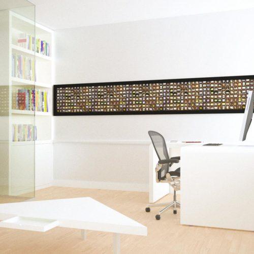 Bureau 'folded', hoek opstelling. Vooraan ziet u de salontafel die u nu ter beschikking hebt.