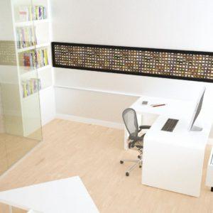 Bureau 'folded', hoek opstelling, bovenaanzicht