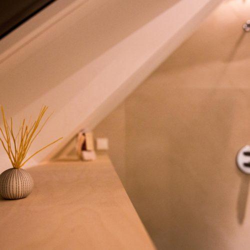 Detail slaapkamer met badkamer op zolder