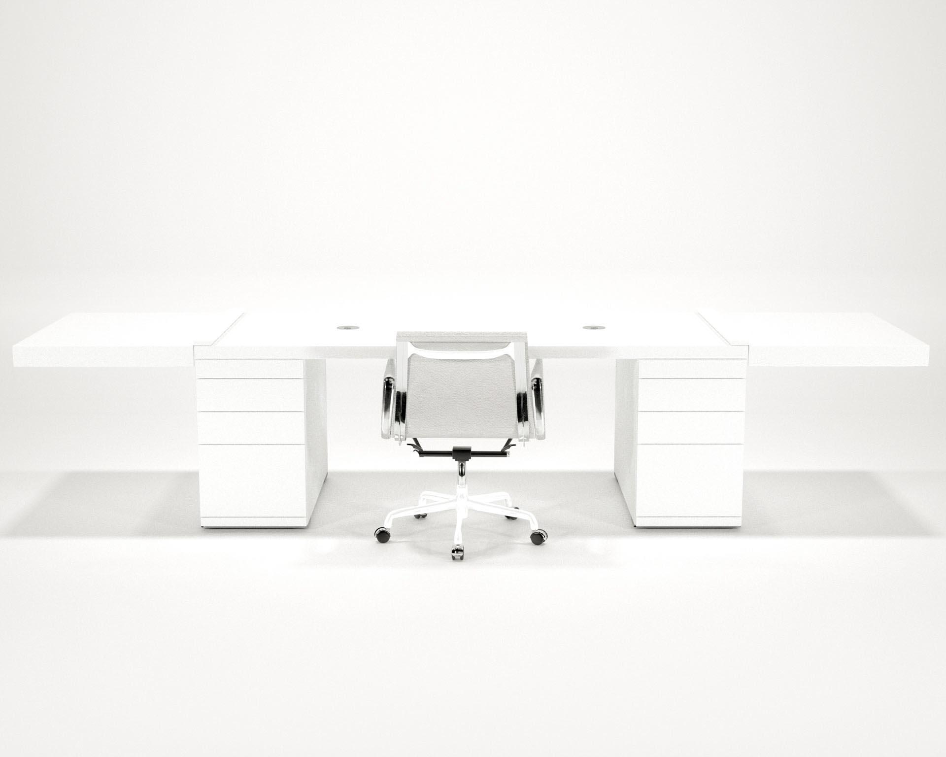 Wit hoogglans bureau - design Edwin de Kuiper